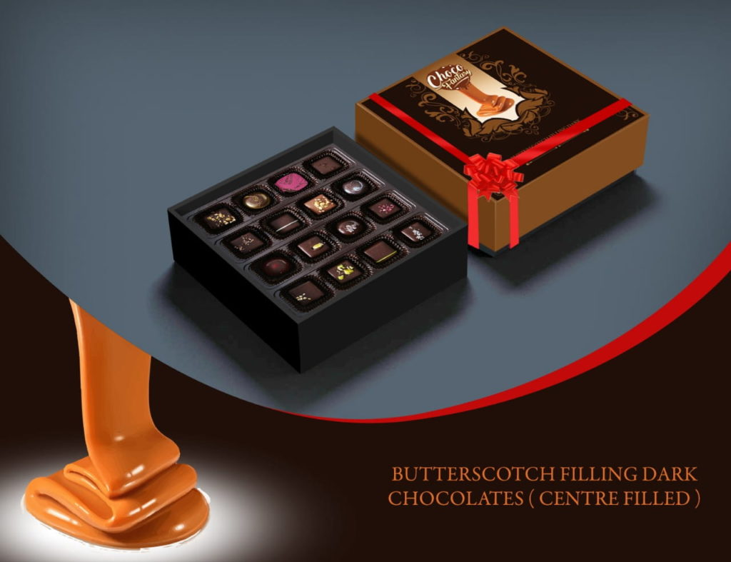 Butterscotch filling dark chocolates box